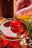 paprika rouge organique de cerise en huile de tournesol Images stock