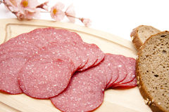 Paprika salami with bread Stock Images