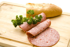 Paprika salami with parsley Stock Image