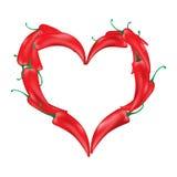 Paprika sous forme de coeur Photographie stock libre de droits