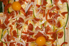Paprika, squash, onion and egg pizza Royalty Free Stock Images