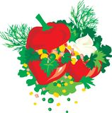 Paprika with stuffing. Red delicious paprika with stuffing stock illustration