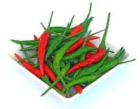 Paprika tailandesa verde y roja Fotografía de archivo libre de regalías