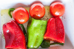Paprika, tomat och chili som är klara att baka Arkivfoton