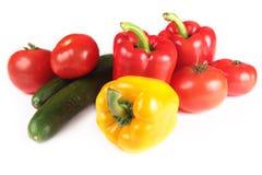 Paprika, tomates et concombre Photographie stock