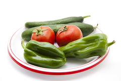 Paprika with tomato and cucumbers Stock Photos