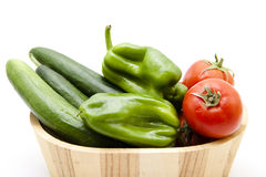 Paprika with tomato and cucumbers Royalty Free Stock Image