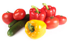 Paprika, tomatoes and cucumber Stock Photography