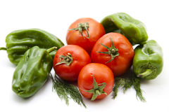 Paprika and tomatoes with dill Royalty Free Stock Images