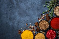 Paprika, turmeric, red pepper and other fragrant spices. Top view, horizontal stock photos
