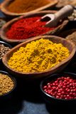 Paprika, turmeric, red pepper and other oriental spices, closeup. Vertical stock photography