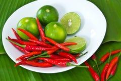 Paprika und Kalk lizenzfreies stockfoto