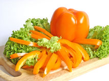 Paprika und Kopfsalat lizenzfreie stockfotografie