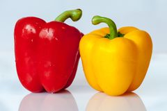 Paprika, Vegetables, Yellow, Red Royalty Free Stock Photos