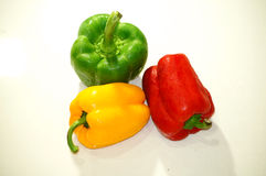 Paprika verde, rojo y amarillo Imagen de archivo libre de regalías