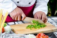 Paprika vert coupé en tranches Images stock
