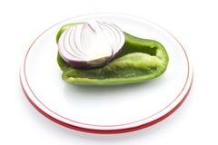 Paprika Vert frais à l'oignon rouge Image stock