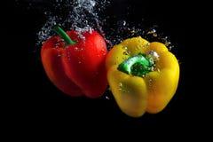 Paprika in water royalty-vrije stock foto