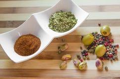 Paprika y pimienta Imagen de archivo libre de regalías