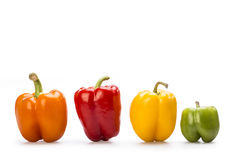 Paprika. Yellow, red, orange and green paprika isolated on withe  background Royalty Free Stock Photos