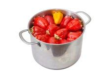 Paprikas bourrés dans le saucepot d'acier inoxydable Photos libres de droits
