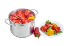 Paprikas bourrés dans le saucepot d'acier inoxydable et sur le plat Images stock