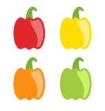 Paprikas colorés figés d'isolement Images libres de droits