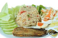 Paprikas kleben gebratenen Reis mit knusperigen Gourami-Fischen Stockbild