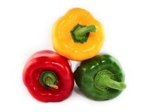 Paprikas rojas, verde, amarillo Fotografía de archivo