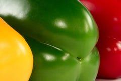 Paprikas rojas, verde, amarillo Imagen de archivo libre de regalías