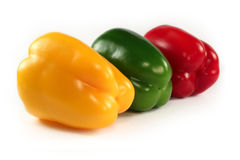 Paprikas rojas, verde, amarillo Fotos de archivo