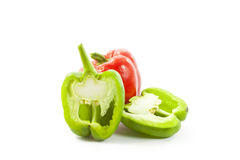 paprikas rojas y verdes Imagen de archivo libre de regalías