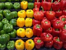 Paprikas rojos, amarillos y verdes Imagen de archivo