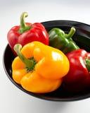 Paprikas rojos, amarillos y verdes Foto de archivo libre de regalías