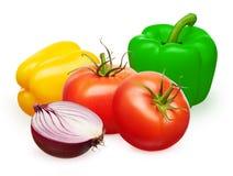 Paprikas rojos de los tomates, amarillos y verdes, mitad de la cebolla Fotos de archivo libres de regalías