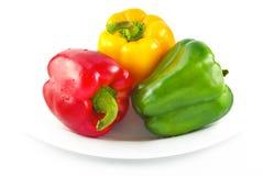 Paprikas Rojos del verde amarillo Imagen de archivo libre de regalías