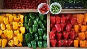 Paprikas rojos, verdes, anaranjados y amarillos en un contador en el supermercado Imagen de archivo