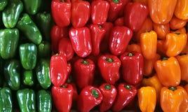 Paprikas rojos, verdes, anaranjados y amarillos en un contador en el supermercado Fotografía de archivo libre de regalías