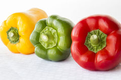 Paprikas rojos y verdes y amarillos en fila en el fondo blanco Fotografía de archivo