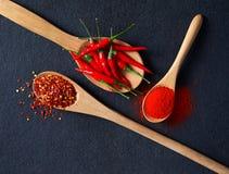 Paprikas, roter Pfeffer-Flocken und Paprika-Pulver lizenzfreie stockfotos