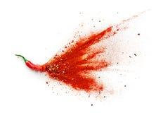 Paprikas, roter Pfeffer-Flocken und Paprika-Pulver stockbilder