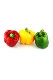 Paprikas tres colores. Imagen de archivo libre de regalías