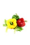 Paprikas tres colores. Imagenes de archivo
