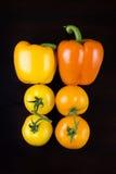 Paprikas y tomates aislados Fotos de archivo
