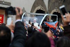Papst Bergoglio Francesco in Florenz Stockbild