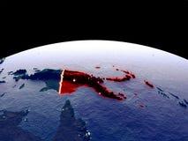 Papua-Neu-Guinea auf Erde vom Raum lizenzfreie abbildung