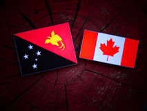 Papua-Neu-Guinea Flagge mit kanadischer Flagge auf einem Baumstumpf lokalisiert Lizenzfreies Stockbild