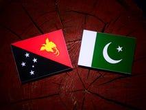 Papua-Neu-Guinea Flagge mit Pakistan-Flagge auf einem Baumstumpfisolat Stockfotografie