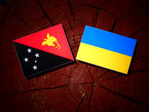 Papua-Neu-Guinea Flagge mit ukrainischer Flagge auf einem Baumstumpf isolat Lizenzfreies Stockfoto