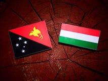 Papua-Neu-Guinea Flagge mit ungarischer Flagge auf einem Baumstumpf isolat Stockfoto